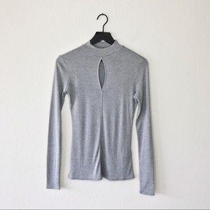 ▪️Frame▪️mock-neck keyhole silk long sleeve